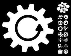 Cogwheel Rotation Vector Icon With Tools Bonus Stock Illustration