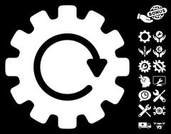 Gearwheel Rotation Vector Icon With Tools Bonus Stock Illustration