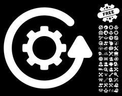 Gearwheel Rotation Direction Vector Icon With Tools Bonus Stock Illustration