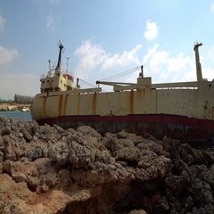 Edro III wreck ship of in Pegeia , Cyprus Stock Footage