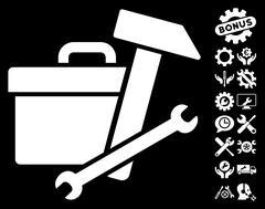 Toolbox Vector Icon With Tools Bonus Stock Illustration