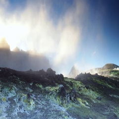 Volcanic degassing at dawn Stock Footage