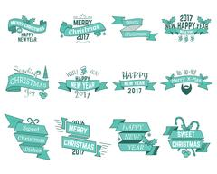 Happy Christmas wishes collection with ribbons and holiday symbols, elements - Stock Illustration