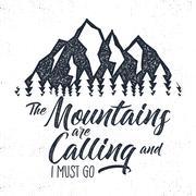 Hand drawn mountain advventure label.  calling illustration. Typography design Stock Illustration