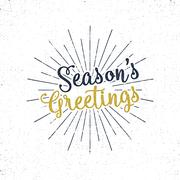 Christmas greetings lettering, holiday wish, saying and vintage label. Season's Stock Illustration