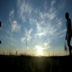 Man and Woman love silhouette in sunset, love concept Stock Footage