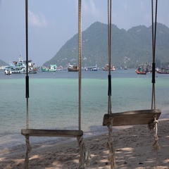 Swing on Beach at Koh Tao Thailand Stock Footage