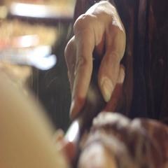 Hand Turner wood close-up Stock Footage