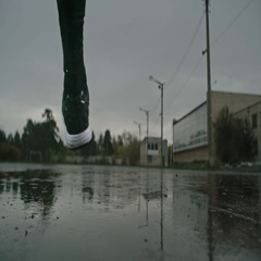 Marathon in the Rain Stock Footage