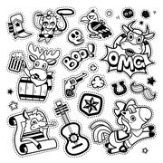 Quirky Cartoon Patch Badges Stock Illustration