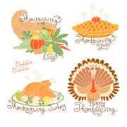 Set of color drawings to Thanksgiving Day. Autumn harvest, Traditional holiday Stock Illustration