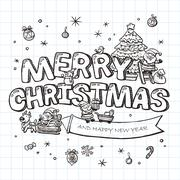 Adorable Merry Christmas Stock Illustration