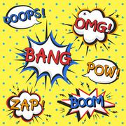 attractive comic sound effect Stock Illustration