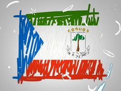Equatorial Guinea  - Hand drawn - Animation - outline - White Background - SD Stock Footage