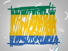 Gabon - Hand drawn - Animation - outline - White Background - SD Stock Footage
