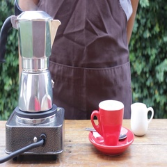 Homemade hot espresso drink by moka pot Stock Footage
