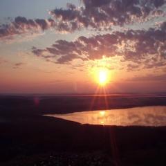 4K Flight Summer Sunrise Over Glacial Lake Nice Cloudy Sky Stock Footage