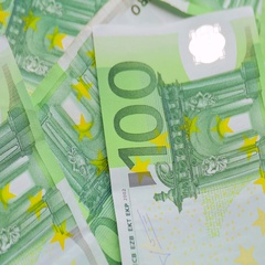 Banknotes in denomination one hundred euroes Stock Footage