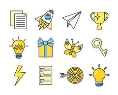 Idea Generation Icon Set Stock Illustration