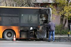 Burnt public traffic bus Stock Photos
