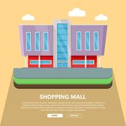 Shopping Mall Web Template in Flat Design Stock Illustration