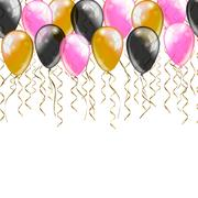 Greeting card template. colorful confetti and balloons on white background Stock Illustration