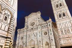 The Basilica di Santa Maria del Fiore and Giotto's Campanile, Florence, Italy Stock Photos