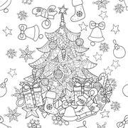 Merry Christmas zentangle fir tree doodle . Stock Illustration