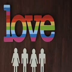 Rainbow Gay Pride Love sign on wood background. Stock Footage