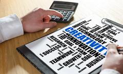 Creativity word cloud concept on a clipboard Stock Photos