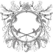 Wreath with antler, feather, arrow, flower, leaf and branch in boho style. Stock Illustration
