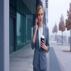 Fancy Business Woman Working Around Clock To Have Coffee Stock Footage