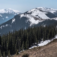 Panorama with forested mountains over which was strewn with little snow. Stock Footage