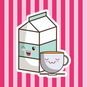 Milk box coffee cartoon Stock Illustration