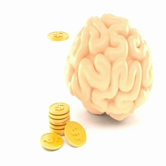 Brain with golden coins Stock Footage