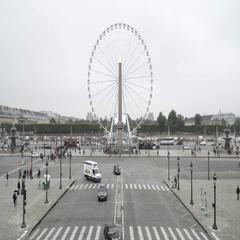 Aerial view of place de la concorde, and Paris big wheel on a foggy day Stock Footage