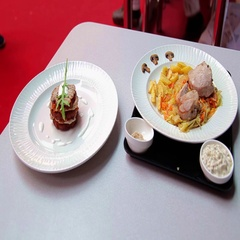 Two beautiful dishes with meat are on the table. Culinary arts. Stock Footage