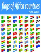 Flags of Africa countries flat icons Stock Illustration