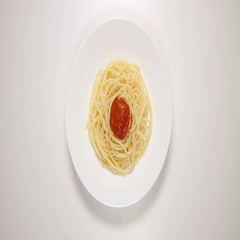 TOP VIEW: Spaghetti with sauce on a white dish - put, eat (stop motion) Stock Footage