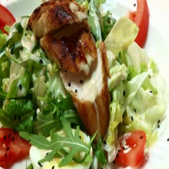 A beautiful dish with meat, lettuce and tomato. Culinary arts Stock Footage