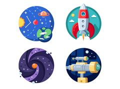 Cosmic research of solar system Stock Illustration