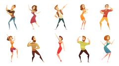 Dancing People Funny Cartoon Icons Set Piirros