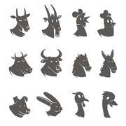 Farm Animals Heads Black Icons Set Piirros
