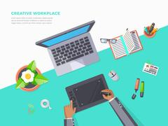 Top View Of Creative Workplace Stock Illustration