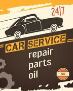 Auto Service Vintage Style Poster Stock Illustration