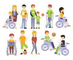 Physically Handicapped People Living Full Happy Life With Disability Set Of Stock Illustration
