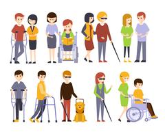 Physically Handicapped People Receiving Help And Support From Their Friends Stock Illustration