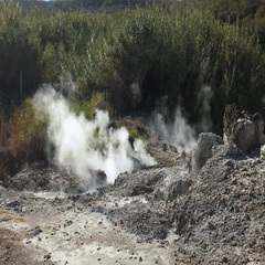 Steam emitted from the ground ina fumarole field Stock Footage