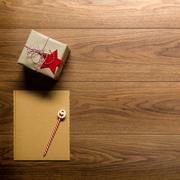 Desk view from above with letter to santa and presents, retro xmas con Stock Photos