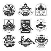 Premium Quality Procart Competition Club Set Of Black And White Emblems With Stock Illustration